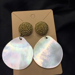 Bauble Bar Gold And Abalone Statement Earrings